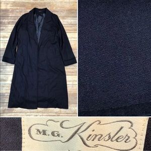 Vintage Navy Wool Bespoke Long Overcoat Trench